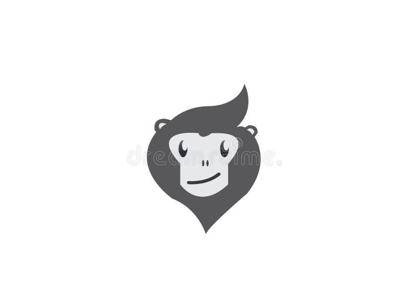 Affekopf mit Gesichtslächeln für Logoentwurf vektor abbildung