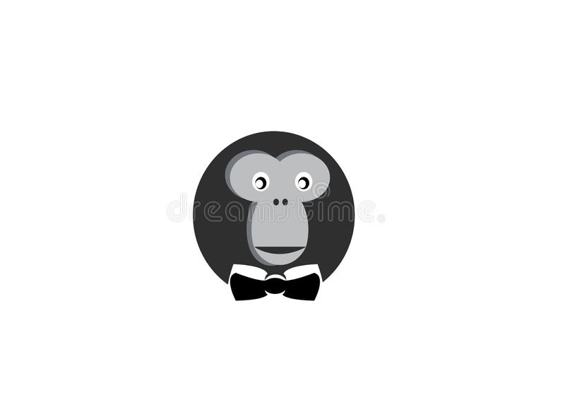 Affekopf mit Gesichtslächeln und Bindung für Logoentwurf vektor abbildung