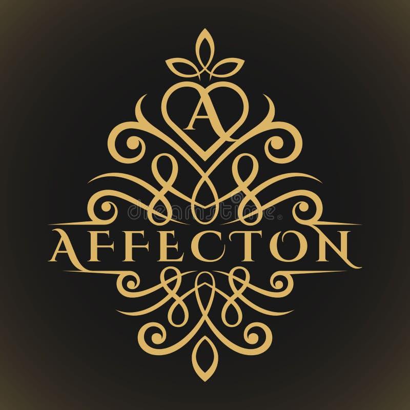 Affektion är en klassisk lyxig älskvärd logo för bokstav A vektor illustrationer
