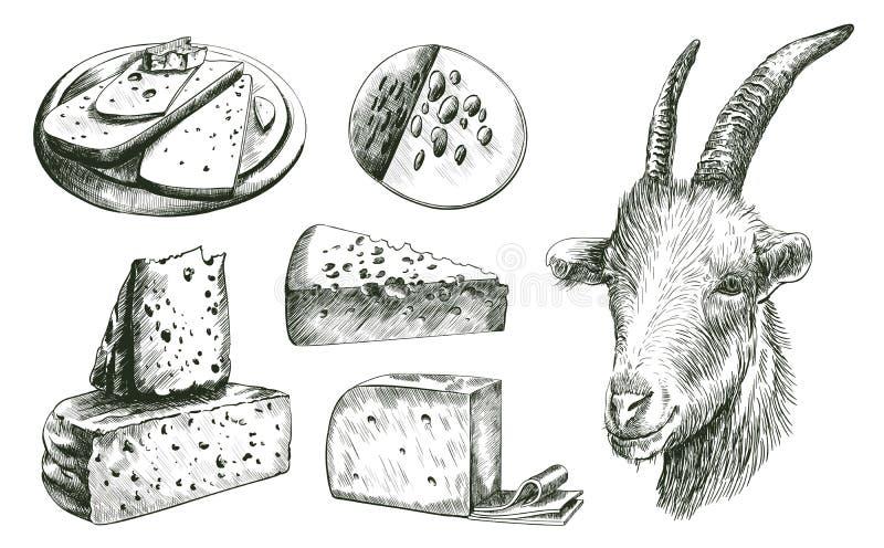 affermage Élevage de chèvre bétail Fabrication du fromage illustration libre de droits