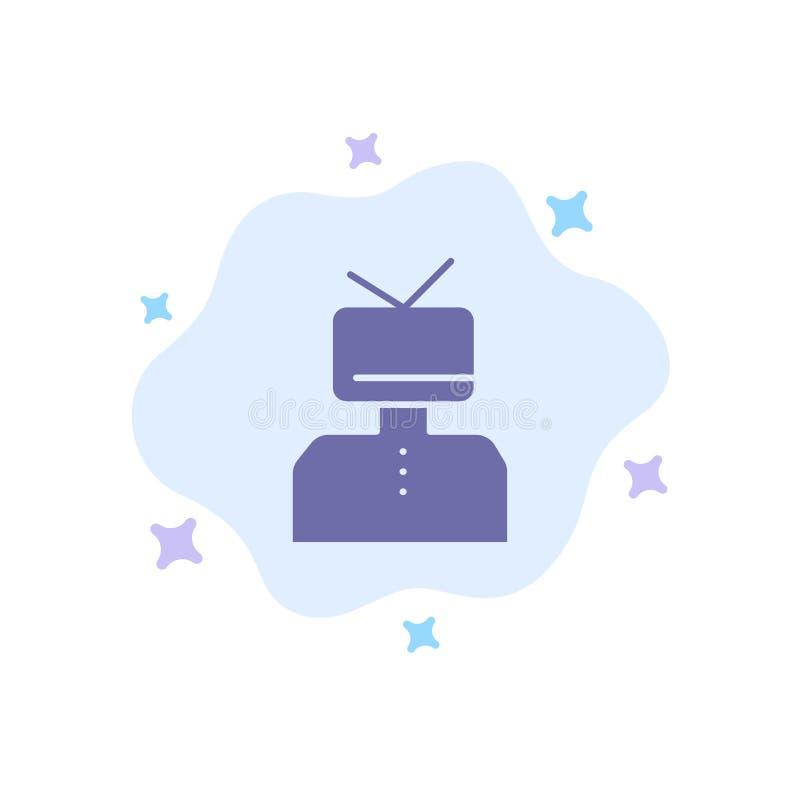Affermazione, affermazioni, stima, felice, icona blu della persona sul fondo astratto della nuvola illustrazione vettoriale