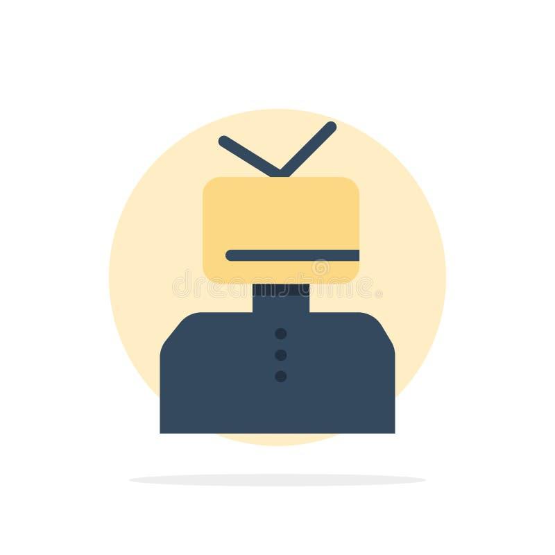 Affermazione, affermazioni, stima, felice, icona piana di colore del fondo del cerchio dell'estratto della persona illustrazione di stock