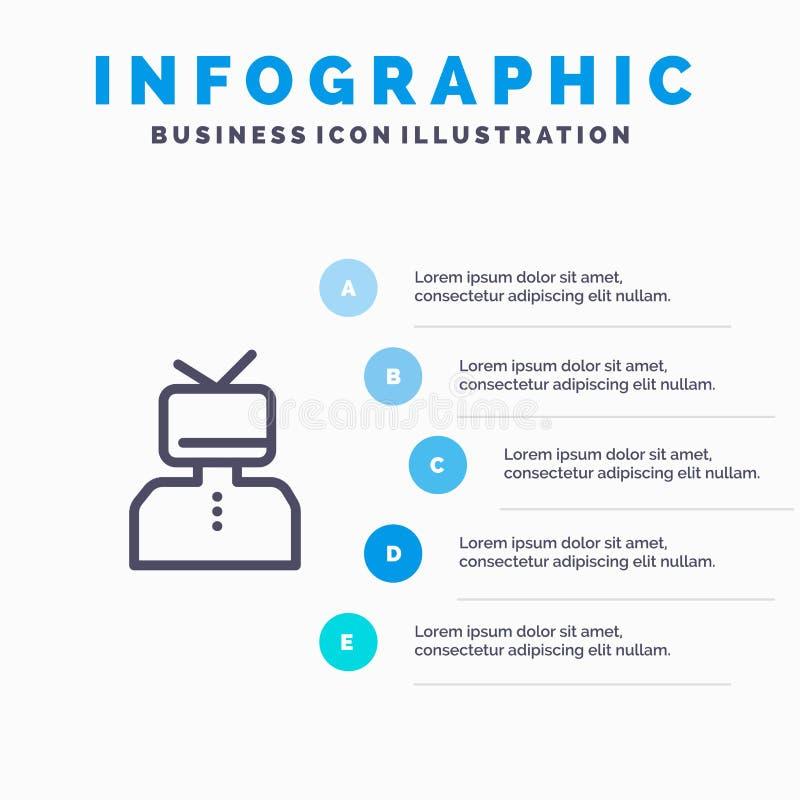 Affermazione, affermazioni, stima, felice, linea icona della persona con il fondo di infographics di presentazione di 5 punti royalty illustrazione gratis