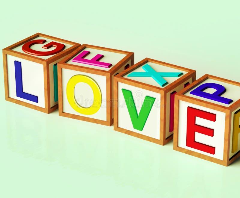 Affetto e devozione romanzeschi di manifestazione dei blocchetti di amore illustrazione vettoriale