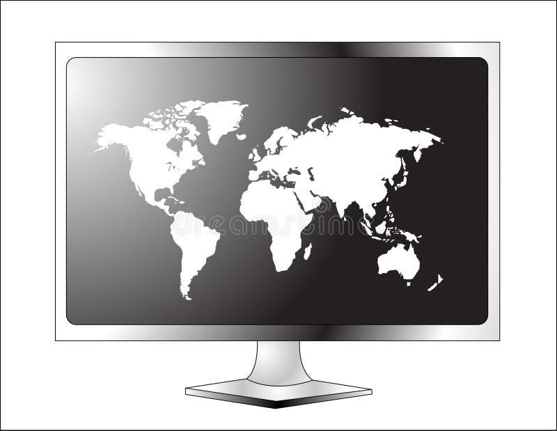 Affichage à cristaux liquides TV de plasma avec la carte du monde illustration libre de droits