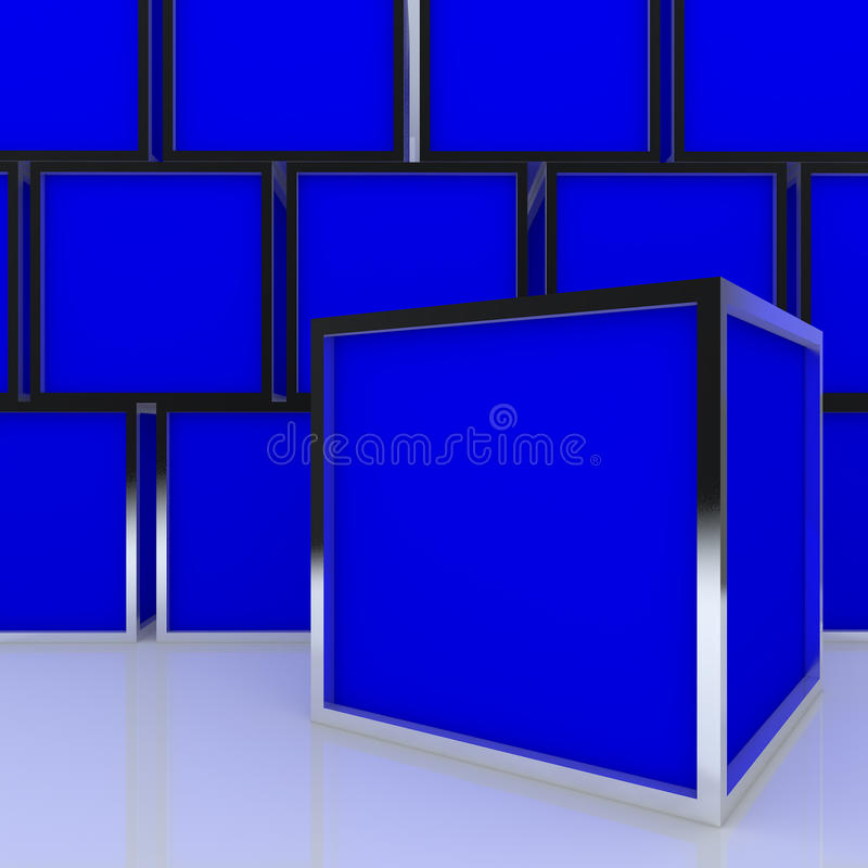 affichage abstrait blanc du cadre 3D bleu illustration de vecteur