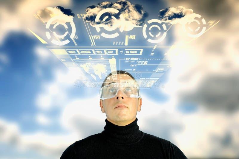 Affichage augmenté d'interface de temps de réalité photographie stock libre de droits