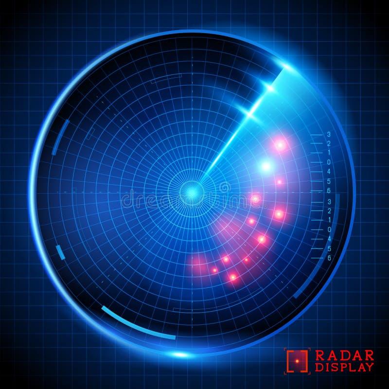 Affichage bleu de radar de vecteur illustration stock