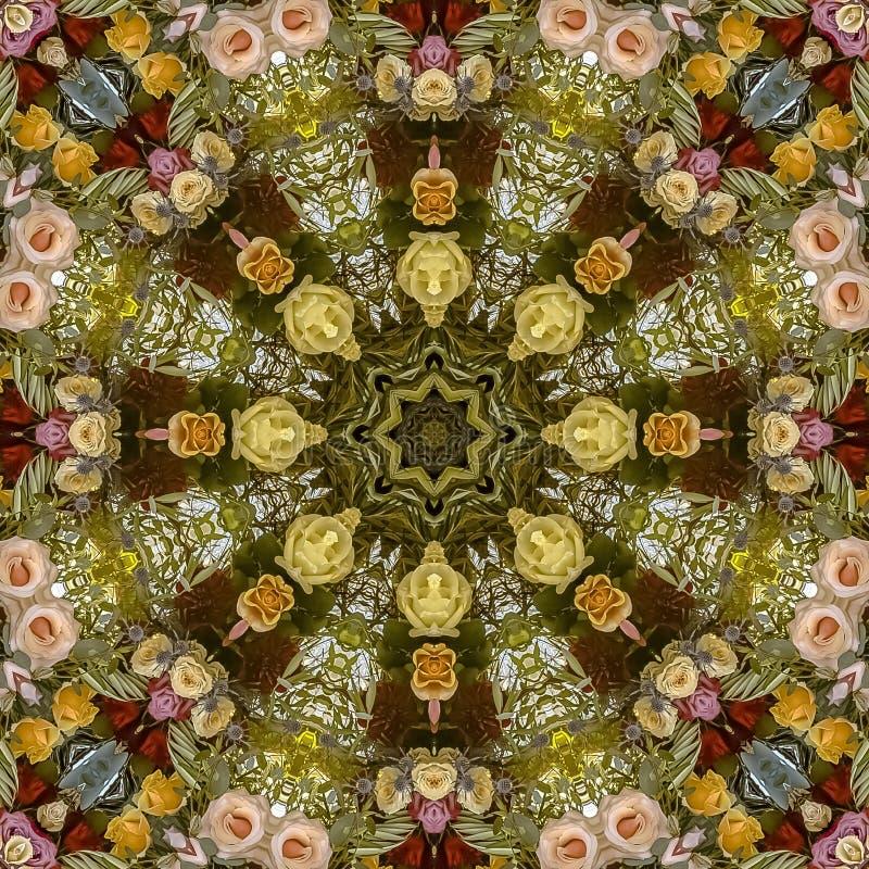 Affichage coloré de place des fleurs dans la disposition circulaire au mariage en Californie illustration libre de droits