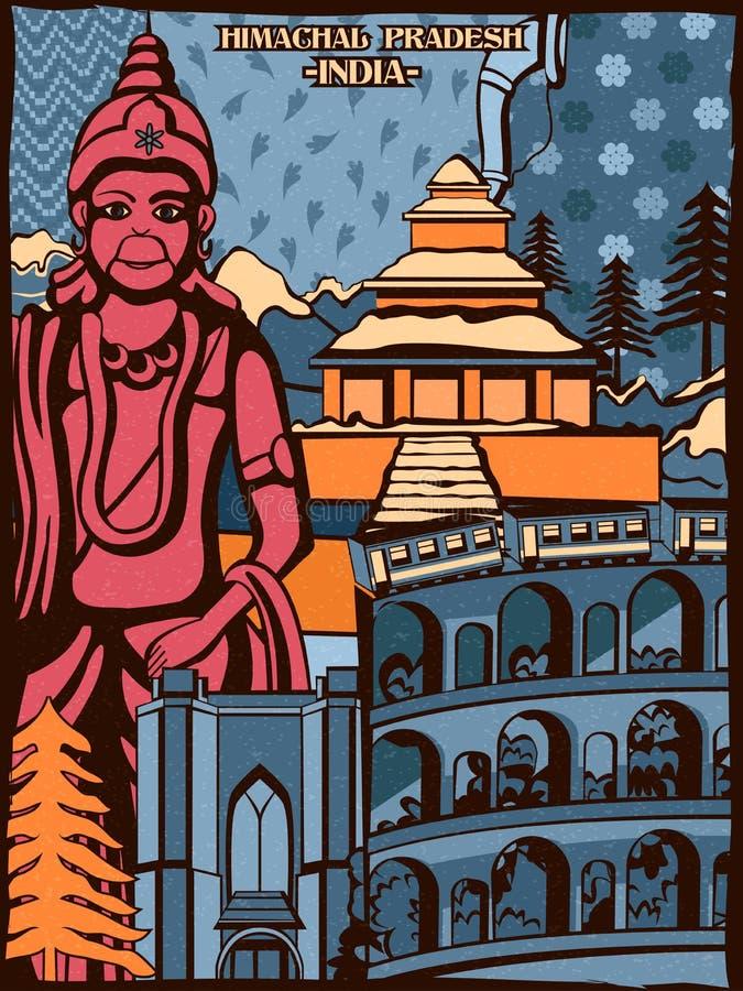 Affichage culturel coloré d'état Himachal Pradesh en Inde illustration libre de droits