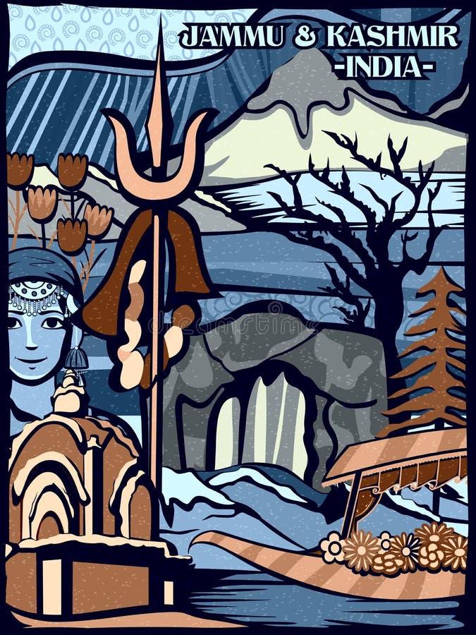 Affichage culturel coloré d'état Jammu-et-Cachemire en Inde illustration libre de droits