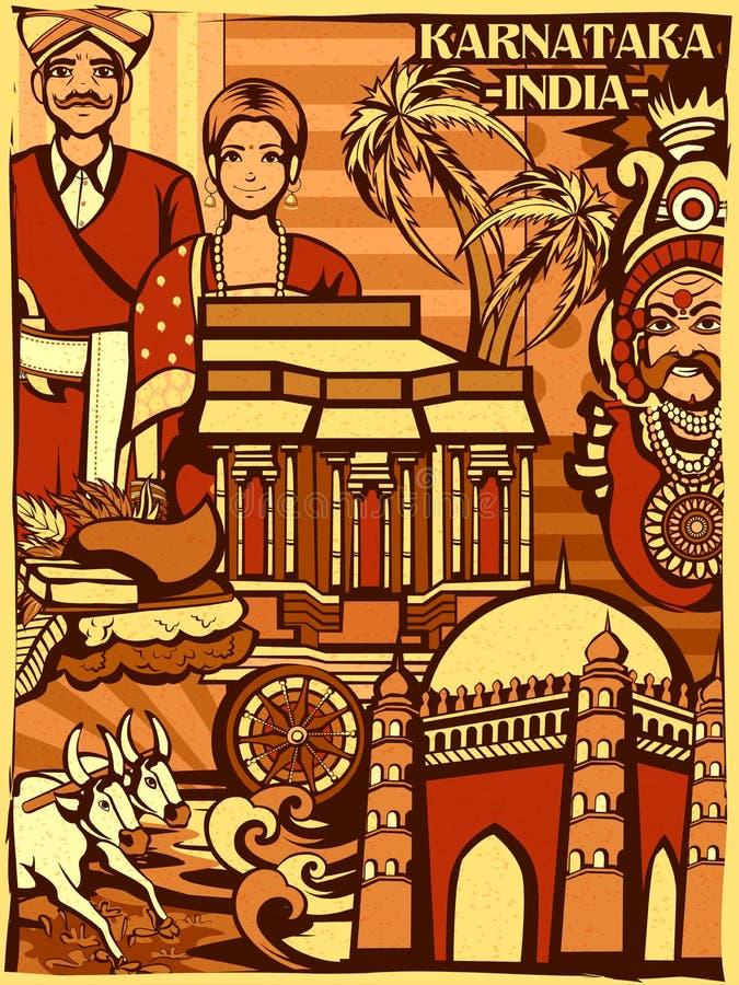 Affichage culturel coloré d'état Karnataka en Inde illustration de vecteur