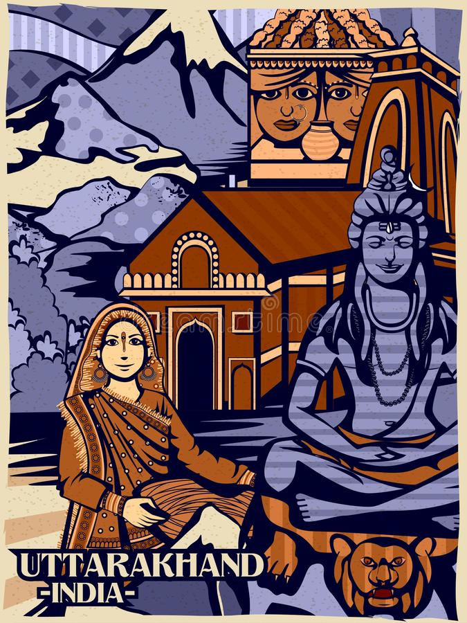Affichage culturel coloré d'état Uttarakhand en Inde illustration libre de droits