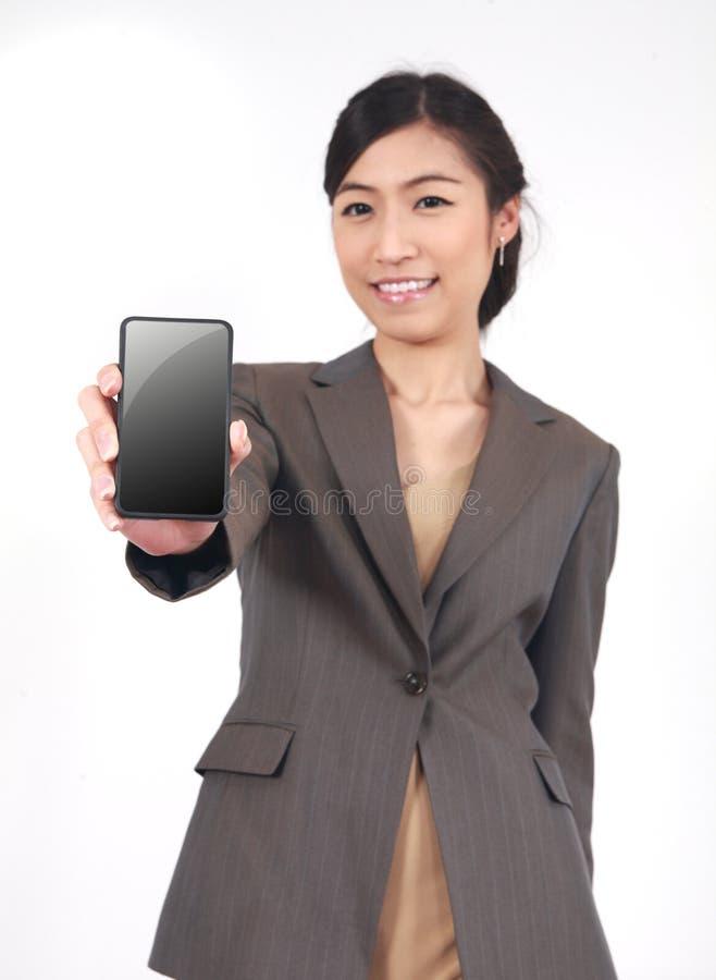 Affichage d'apparence de femme d'affaires de téléphone portable de mobile de contact photo stock