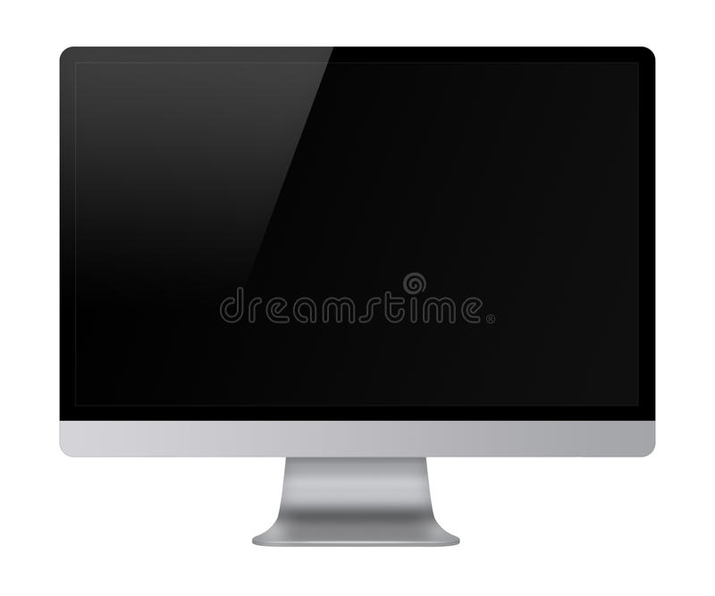 Affichage d'ordinateur avec l'écran noir vide illustration stock