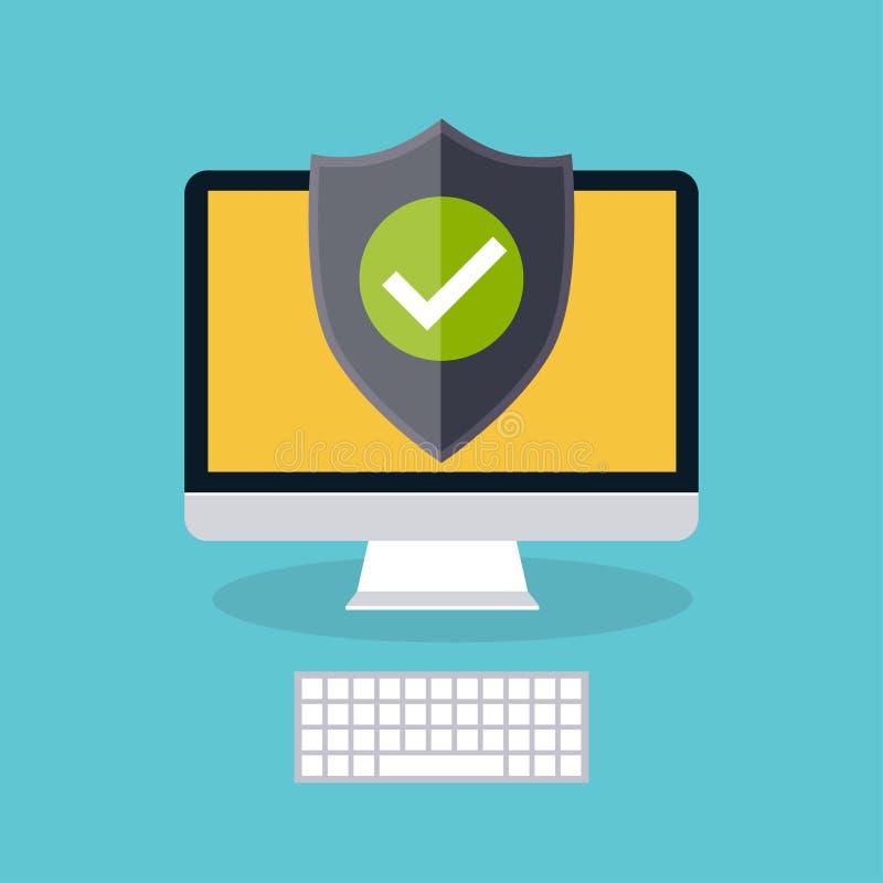 Affichage d'ordinateur avec le bouclier de protection Icône plate à la mode Prote illustration stock