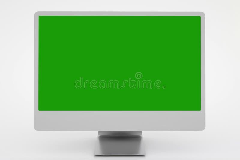 Affichage d'ordinateur vide r?aliste avec l'?cran vert rendu 3d illustration libre de droits