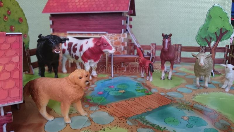Affichage de diorama de la ferme d'animaux images stock