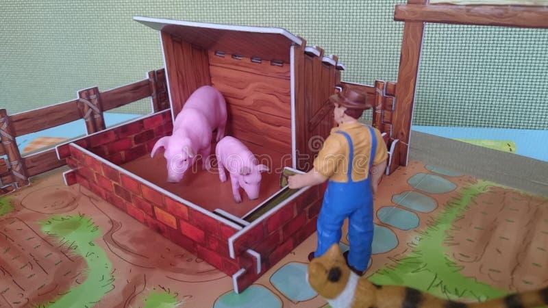 Affichage de diorama de la ferme d'animaux image libre de droits