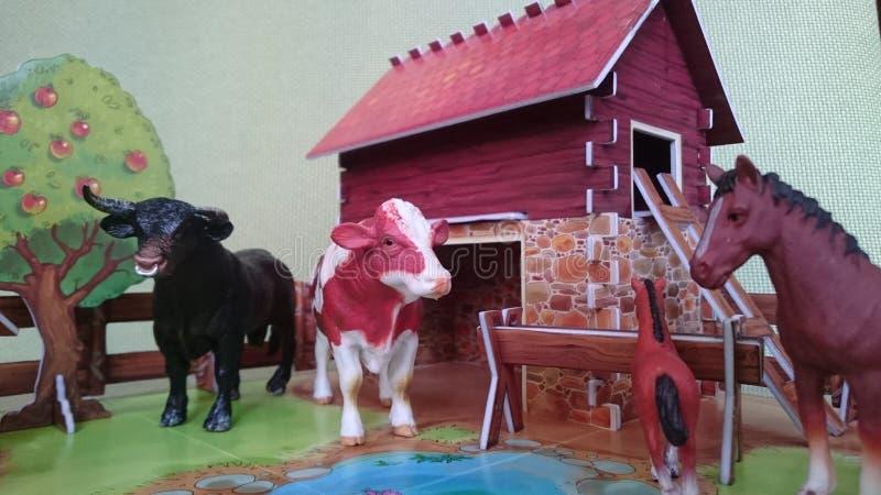 Affichage de diorama de la ferme d'animaux images libres de droits