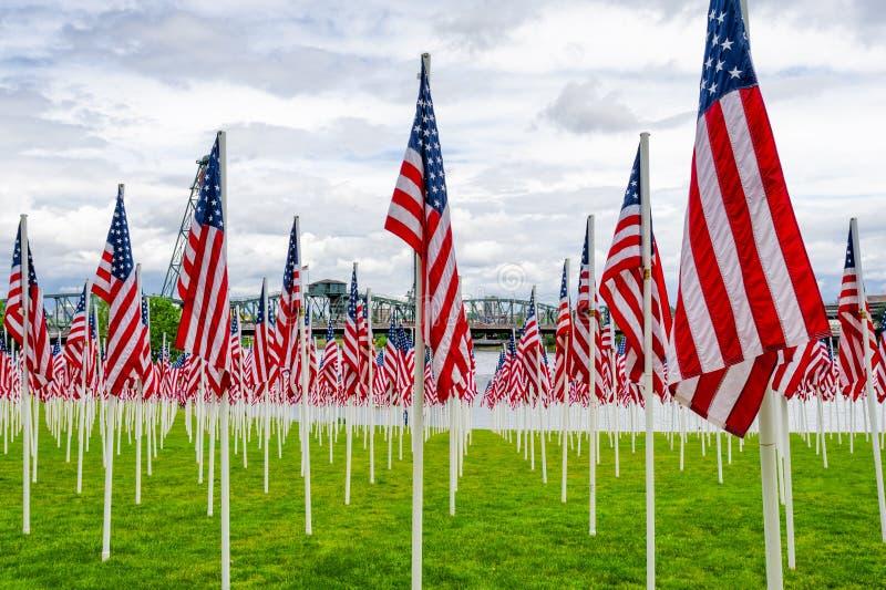 Affichage de drapeau de Memorial Day images stock