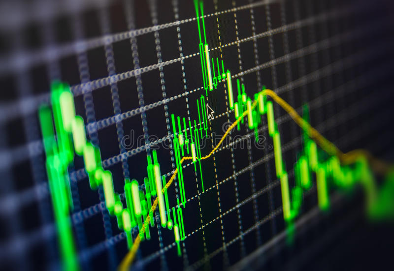Affichage de graphique de diagramme de citations de marché boursier sur l'écran en ligne vivant de moniteur Profitez, croissance  photo stock
