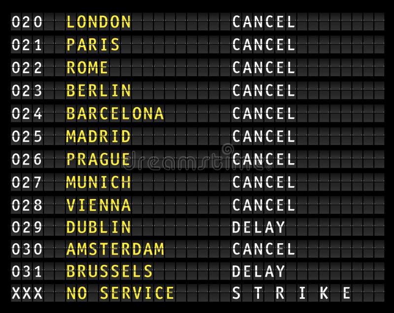 Affichage de l'information de vol, grève illustration stock