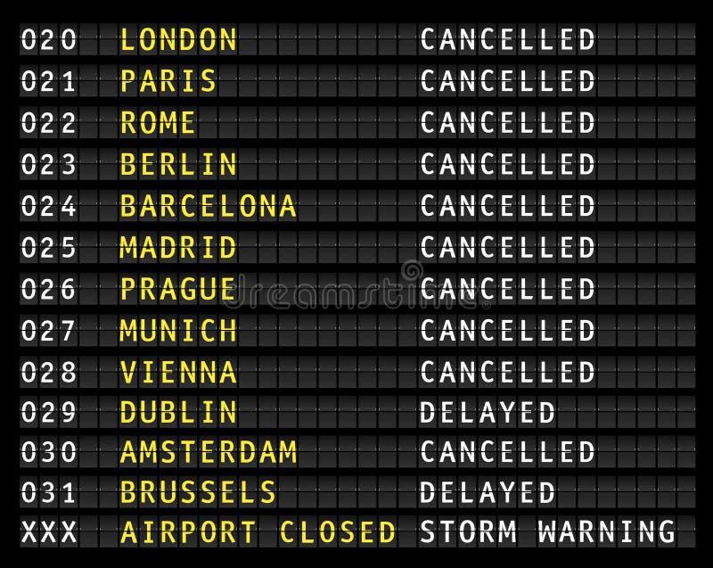 Affichage de l'information de vol sur un aéroport montrant des vols décommandés, avertissement de tempête, illustration libre de droits