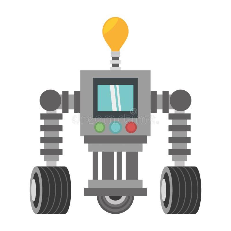 affichage de lumière d'ampoule de robot de technologie avec la roue illustration stock