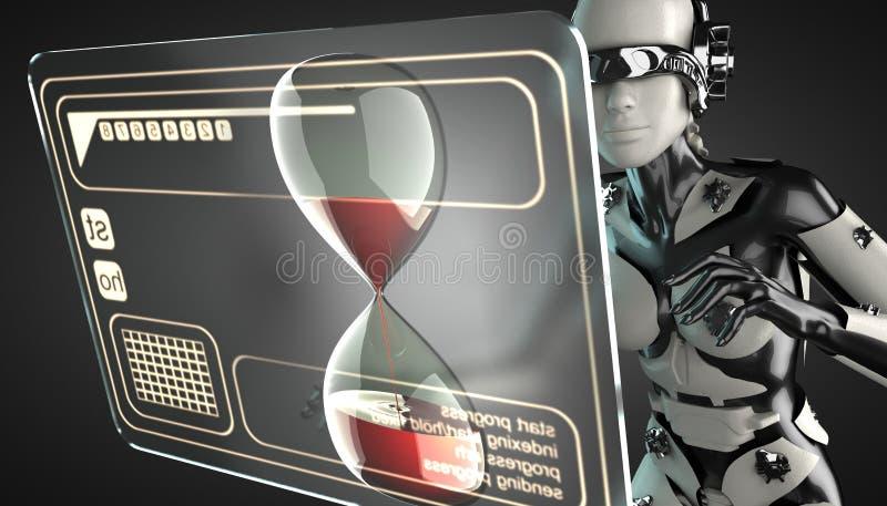 Affichage de manipulation d'hologramme de femme de robot illustration de vecteur