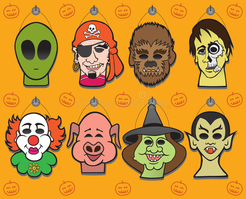 Affichage de masque de Halloween illustration libre de droits