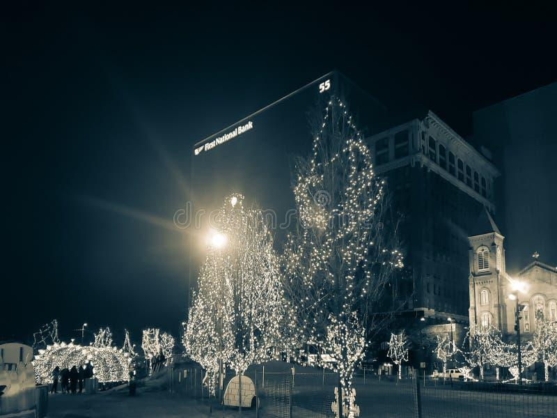 Affichage de vacances de Noël à Cleveland du centre, Ohio image stock