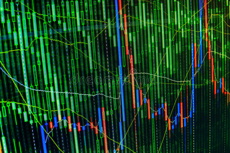 Affichage des prix de graphique de marché boursier et d'histogramme Résumé vert du commerce abstrait de fond financier, bleu, rou photographie stock