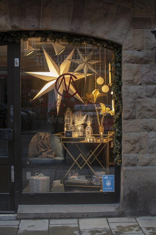 Affichage effronté de fenêtre de Noël de singe image libre de droits