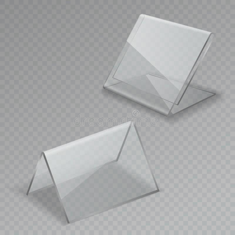 Affichage en verre de table Cadres d'isolement par menu clair acrylique en verre transparent de support de l'information de signe illustration stock