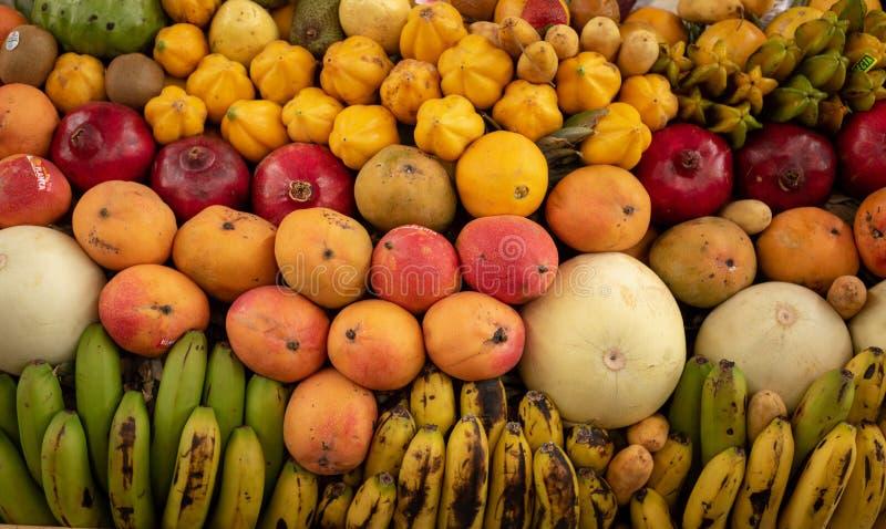 Affichage exotique de fruits images stock