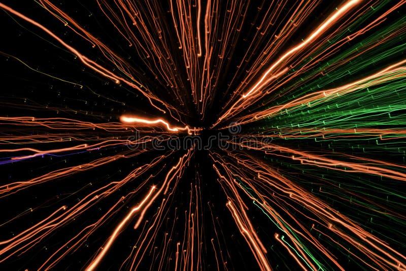 Affichage léger, laser coloré, tunnel léger d'infini photographie stock