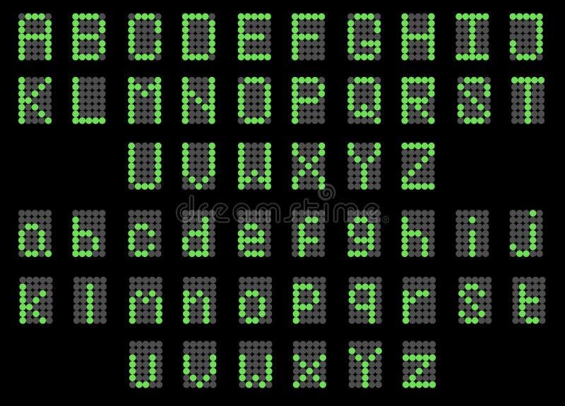 Affichage majuscule de LED et minuscule anglais numérique vert de police abouti illustration de vecteur
