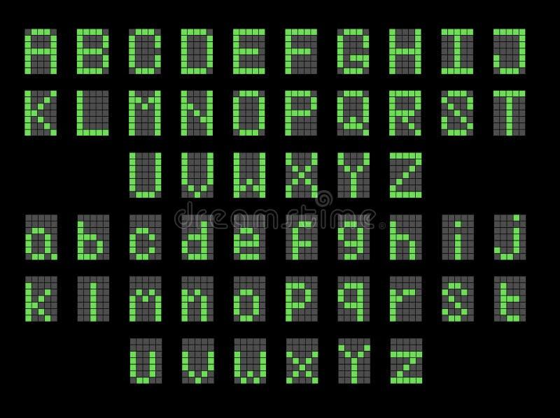Affichage majuscule de LED et minuscule anglais numérique vert de police abouti illustration libre de droits