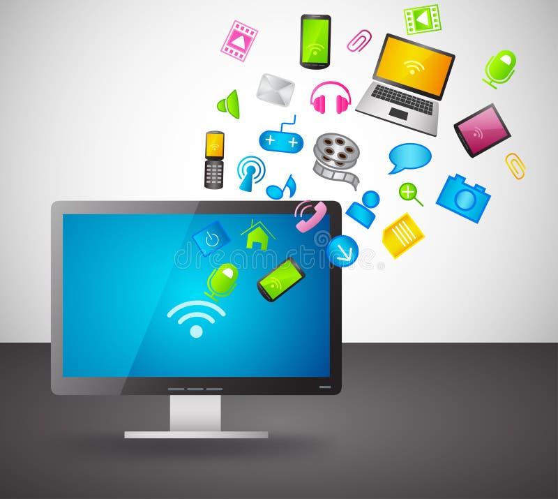 Affichage social de PC d'ordinateur d'élément de groupe d'icône illustration stock
