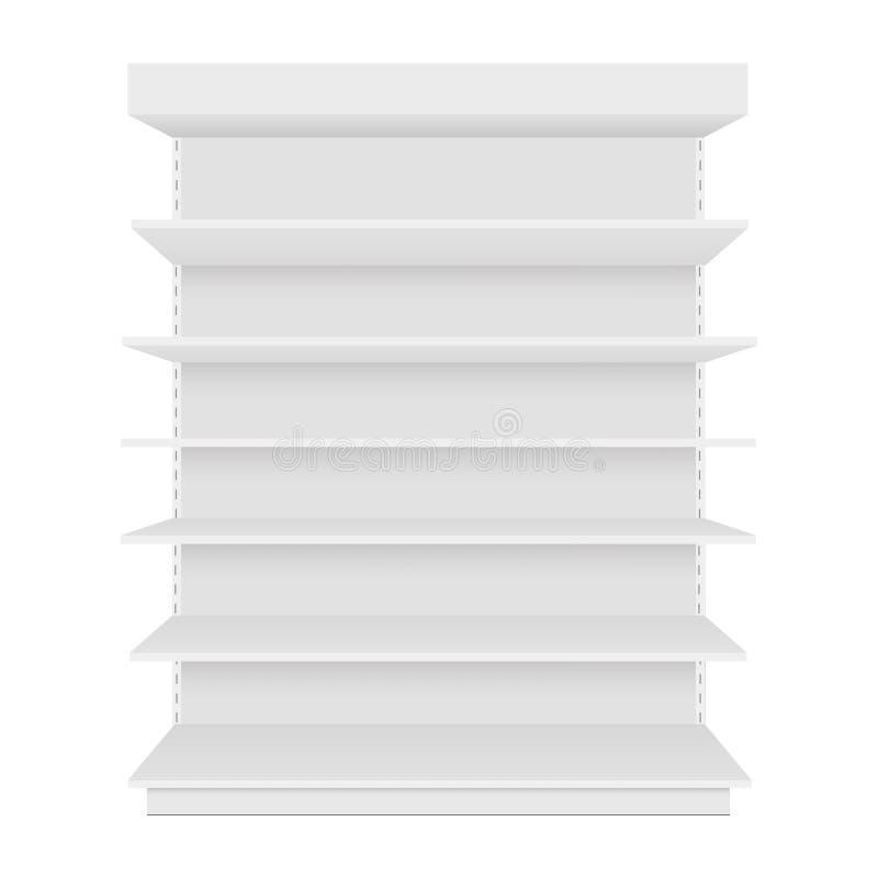 Affichage vide vide d'étalage avec les étagères au détail Front View Dirigez le faux calibre haut prêt pour votre conception illustration libre de droits