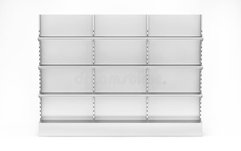 Affichage vide vide d'étalage avec les étagères au détail rendu 3d illustration de vecteur