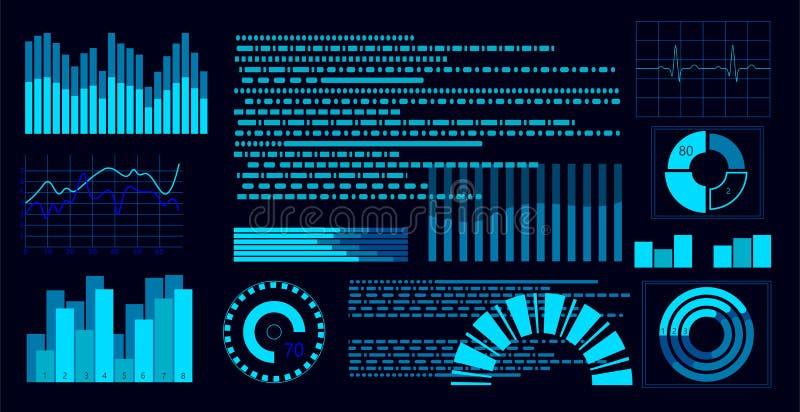 Affichage virtuel bleu plat de tableau de bord de HUD Écran tactile d'interface utilisateurs Diagramme de tendance de graphique L illustration libre de droits