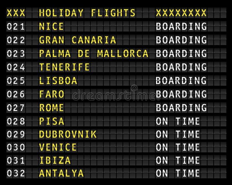 Affichage W de l'information de vol d'aéroport vols de vacances illustration stock
