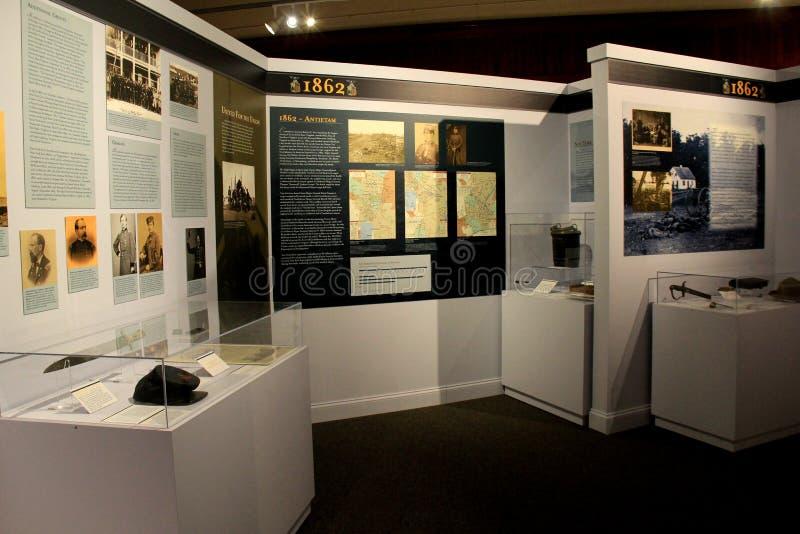 Affichages des articles et de l'histoire pendant 1862, musée militaire, Saratoga Springs, New York, 2016 images libres de droits