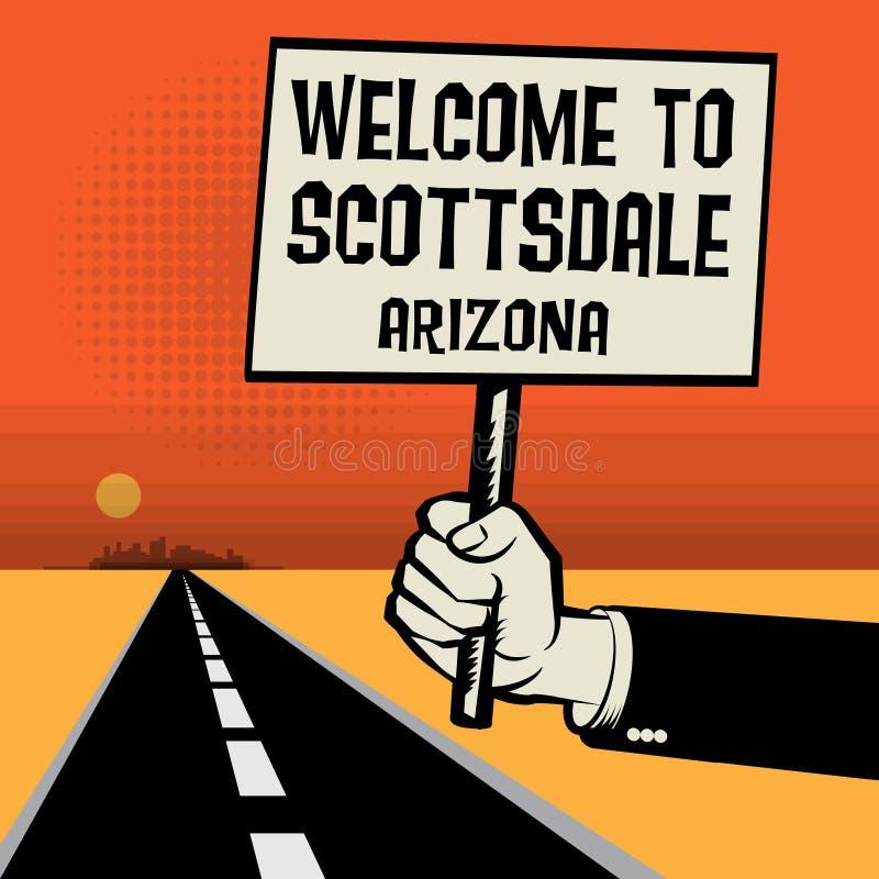 Affiche à disposition, accueil de concept d'affaires vers Scottsdale, Arizona illustration libre de droits