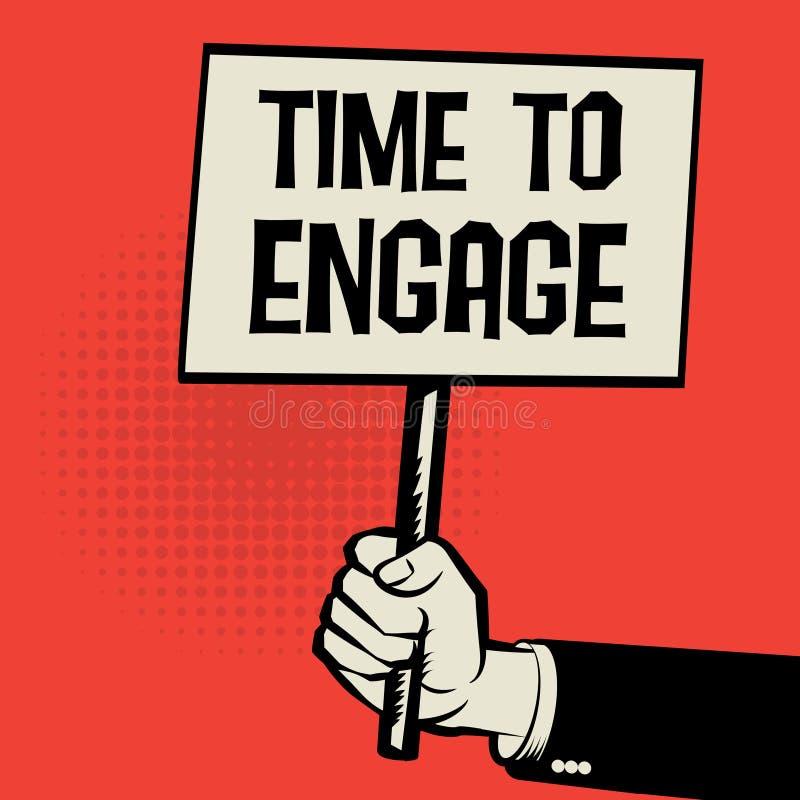 Affiche à disposition, temps de concept d'affaires de s'engager illustration de vecteur