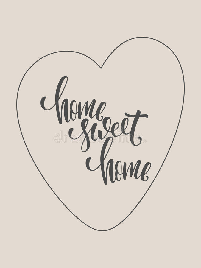 Affiche à la maison douce à la maison Moderne brushpen la calligraphie image stock