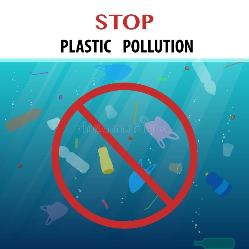 Affiche écologique de pollution en plastique d'arrêt avec les déchets de flottement dans l'océan et le signe de rond de rad illustration de vecteur