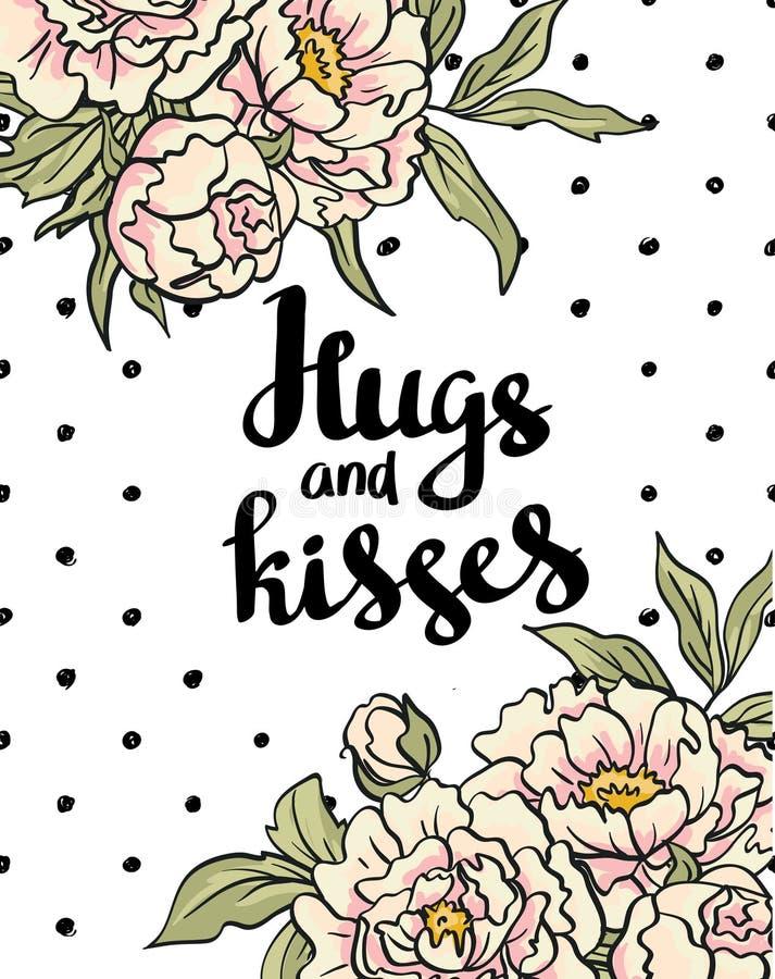Affiche élégante d'amour avec des pivoines Le lettrage de vecteur étreint et des baisers Carte de vecteur de Saint-Valentin illustration libre de droits